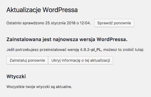 aktualny wordpress i wtyczki