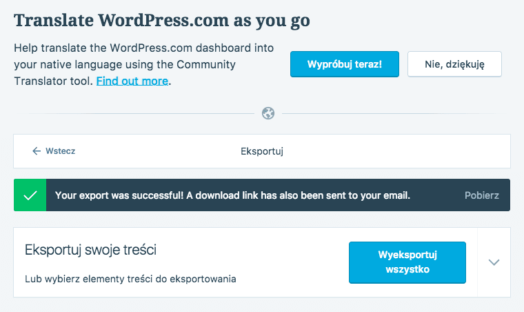 wordpress.com eksport