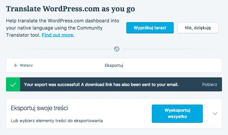 wordpress.com eksport