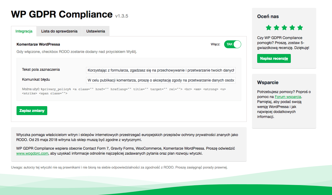 wp gdpr compliance komentarze konfiguracja