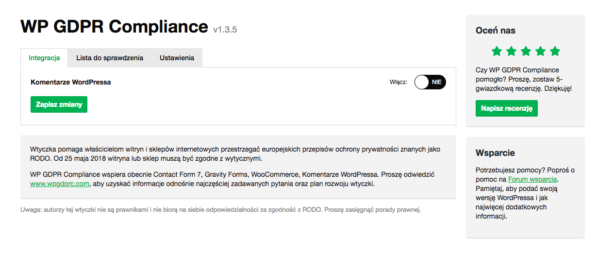 wp gdpr compliance komentarze