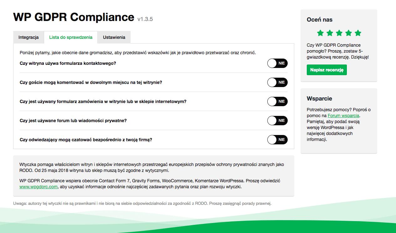 wp gdpr compliance lista do sprawdzenia