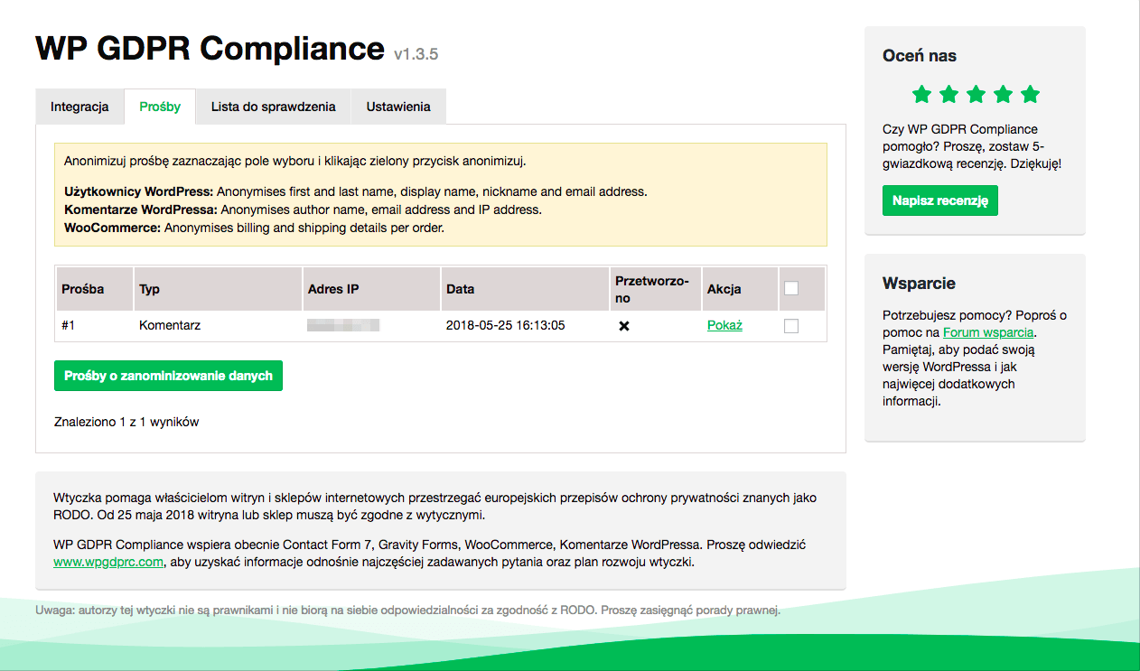 wp gdpr compliance prawo do bycia zapomnianym