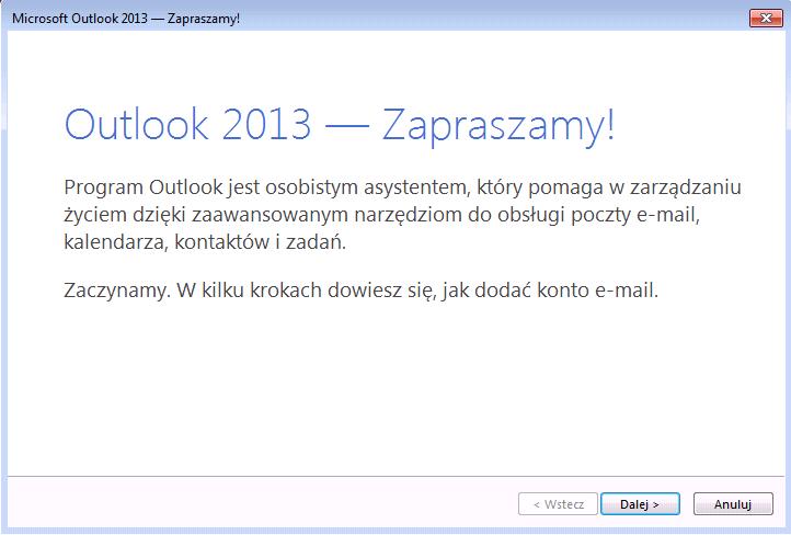 początek konfiguracji outlook 2013