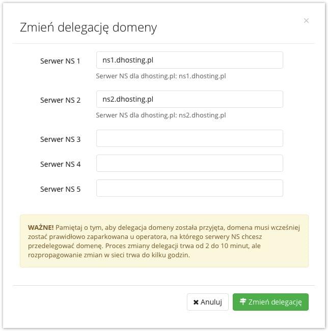 zmiana delegacji domeny