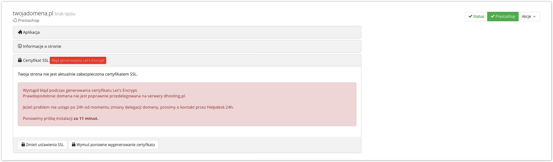 błąd podłączenia certyfikatu ssl