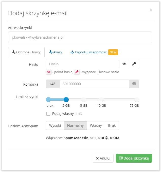 dodaj skrzynkę e-mail