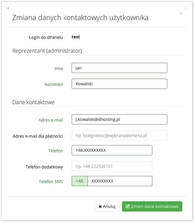 zmiana danych kontaktowych