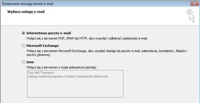 wybieranie usługi e-mail