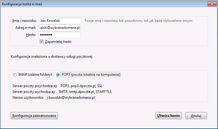 konfiguracja konta e-mail