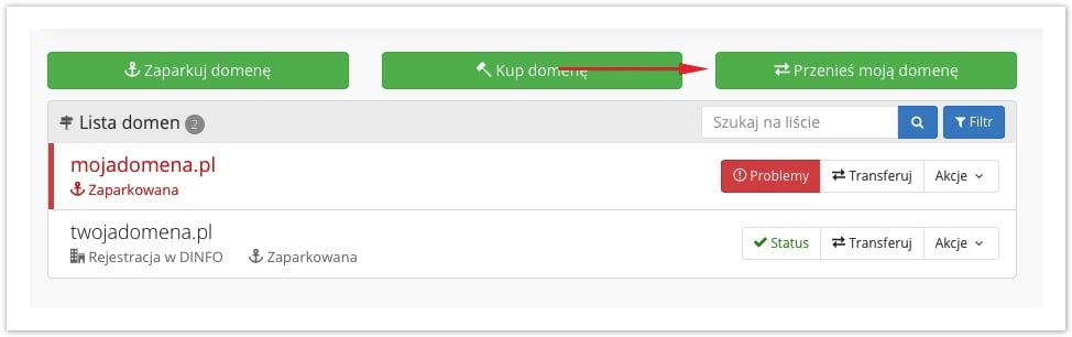 przenieś domenę