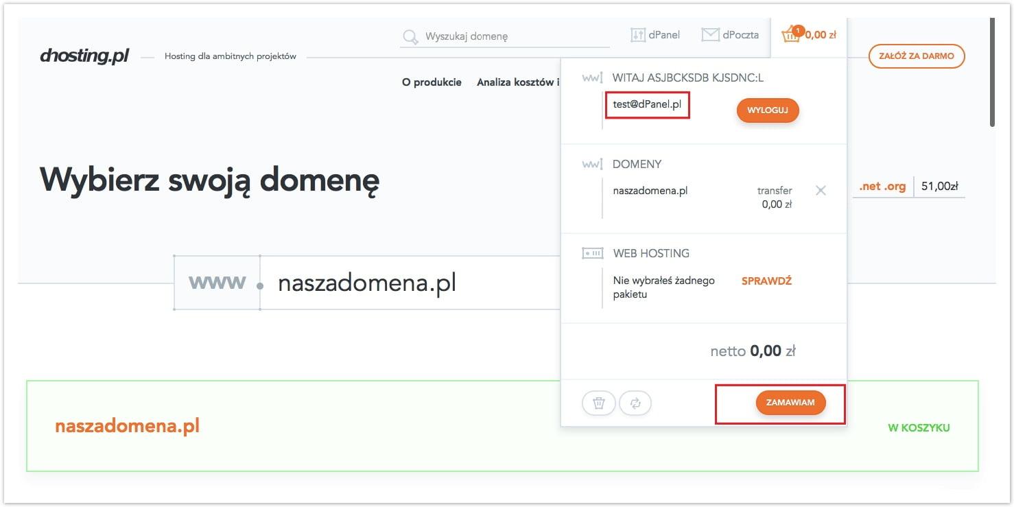 zamówienie domeny