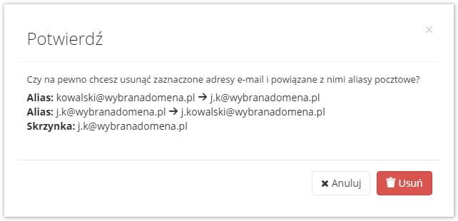 potwierdzenie usunięcia skrzynki e-mail
