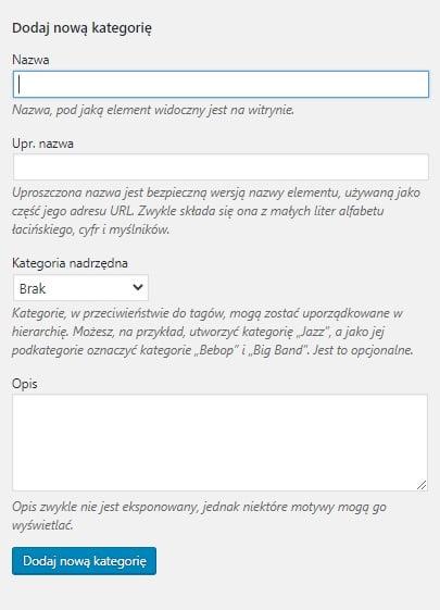 formularz dodawania kategorii