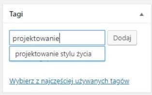 dodawanie tagu z poziomu wpisu