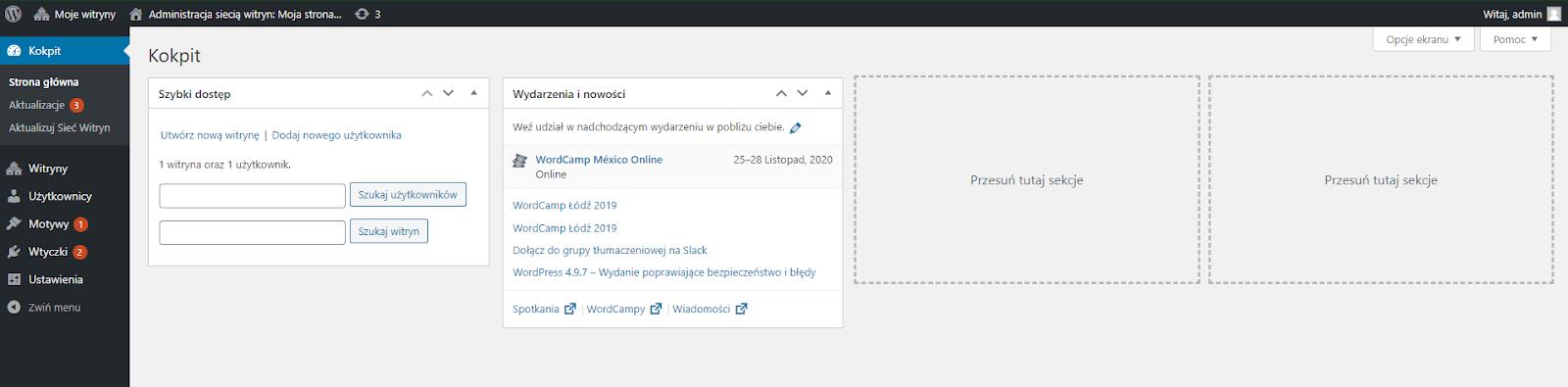dashboard wordpress multiste