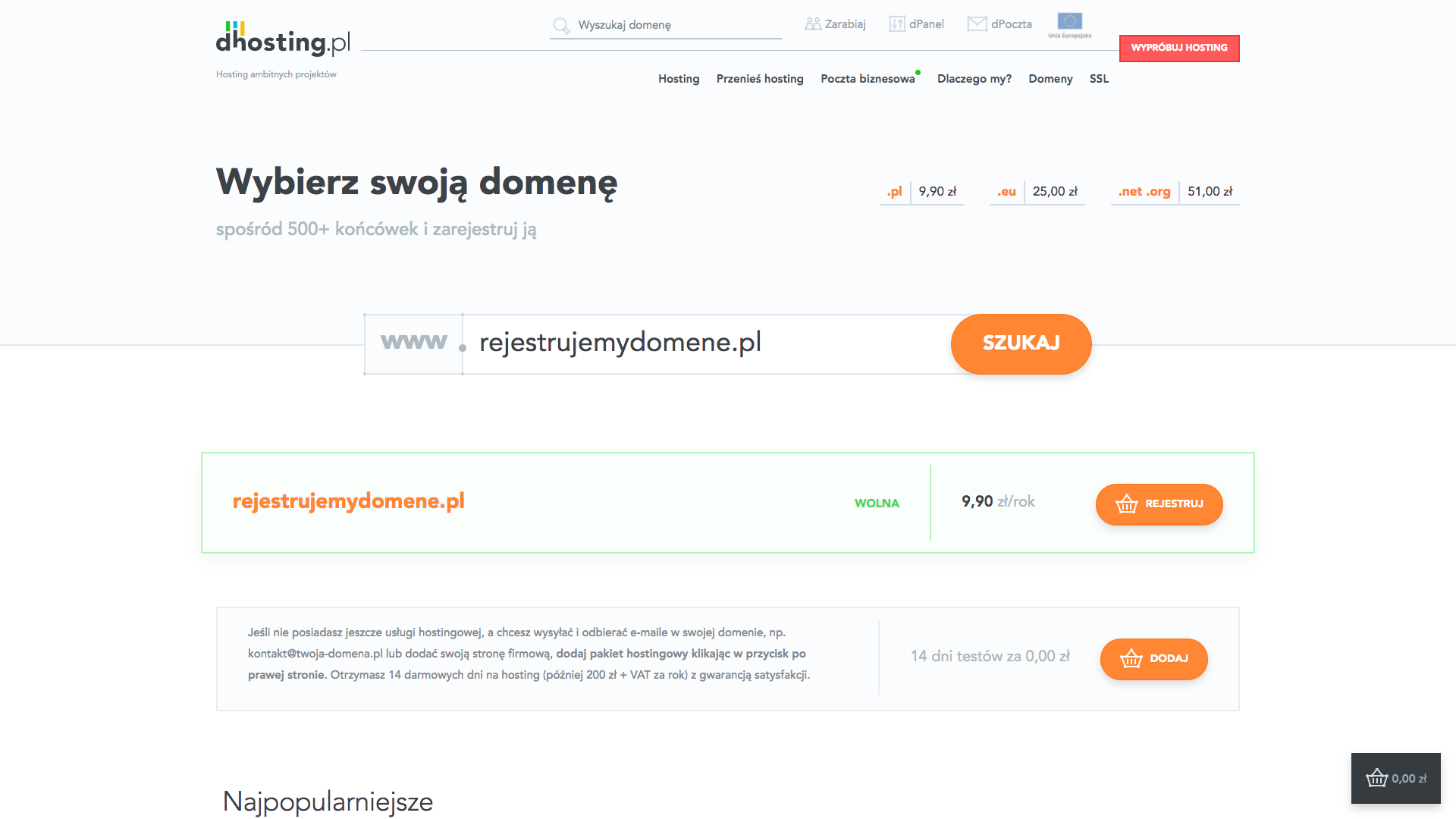 rejestracja domeny dhosting.pl
