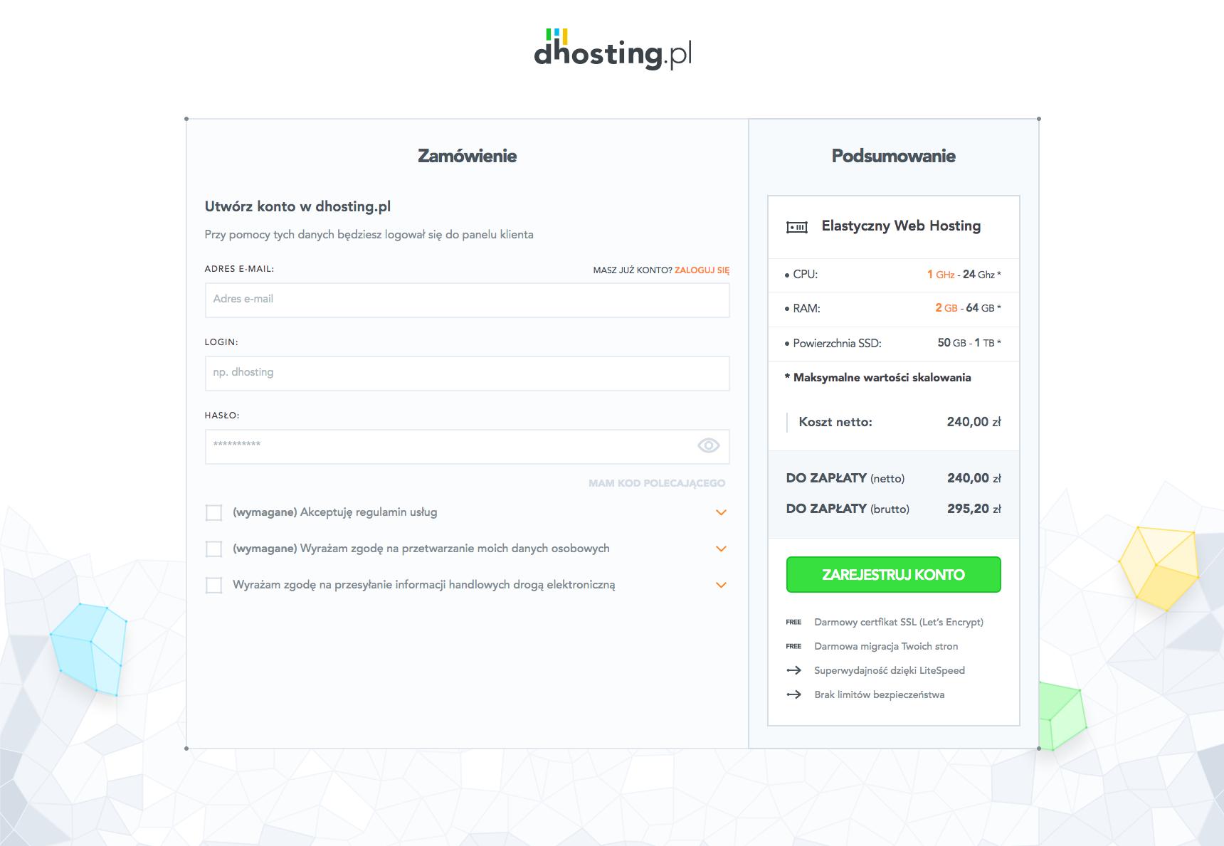 finalizuj rejestrację w dhosting.pl